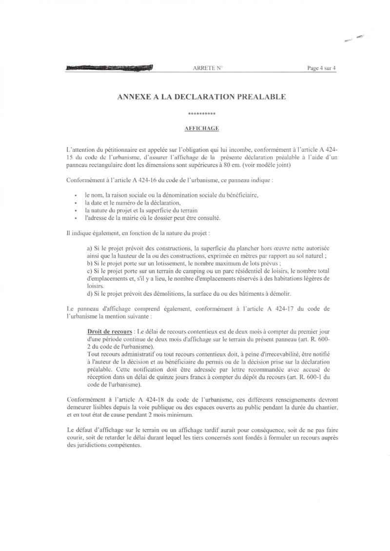 Panneau dclaration pralable recours un architecte with for Panneau de permis de construire gratuit